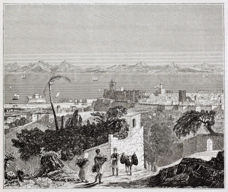 ancestry: Rhodes island old view, Aegean sea. By unidentified author, published on Magasin Pittoresque, Paris, 1844 Editorial