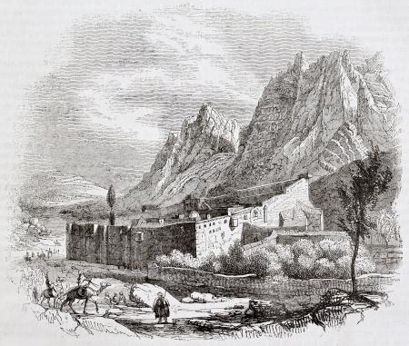 monte sinai: Saint-Catherine antiguo monasterio vista, el Monte Sina�. Por autor no identificado, publicado el Magasin Pittoresque, Par�s, 1844 Editorial