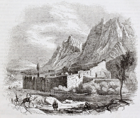 moses: Saint-Catherine monastery old view, Mount Sinai. By unidentified author, published on Magasin Pittoresque, Paris, 1844