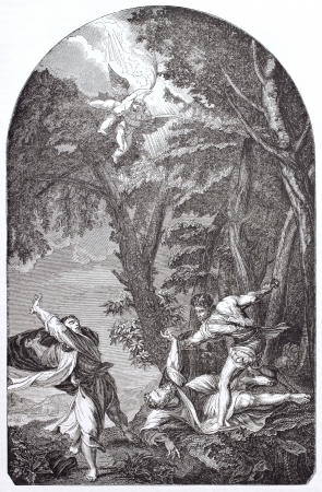 martyrdom: Saint-Peter from Verona Martyrdom, after painting of Titian (original then destroyed by fire in 1857), published on Magasin Pittoresque, Paris, 1844  Editorial