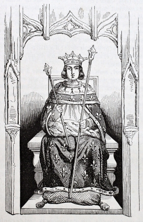 ix: Saint Louis in royal costume. Reproduction of a glass-window in Saint-Louis de Poissy church. Published on Magasin Pittoresque, Paris, 1844 Editorial