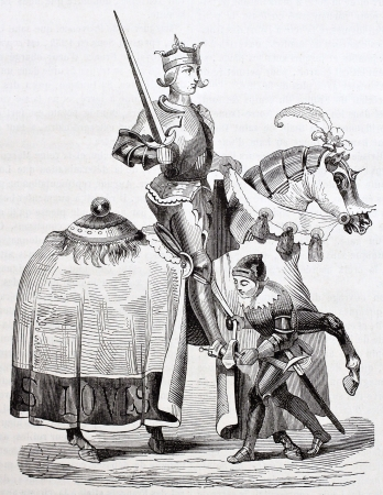 Louis IX of France horseback old illustration. Taken from the manuscript Miracles of Saint Louis, published on Magasin Pittoresque, Paris, 1844