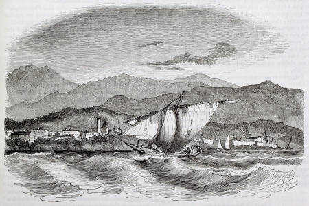 sea seaport: Seaport of Ajaccio old view. Created by Morel-Fatio, published on Magasin Pittoresque, Paris, 1844