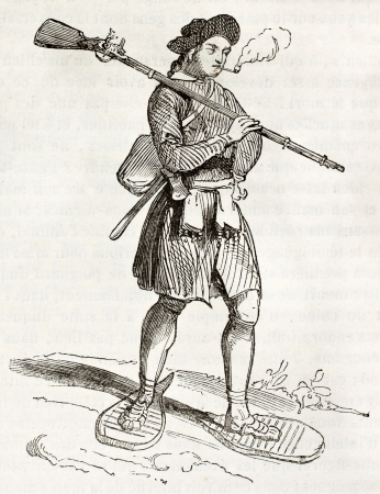muzzle loading: 17th century Hudson bay settler, old illustration. By unidentified author, published on Magasin Pittoresque, Paris, 1844