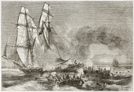Slaver vessel escaping from military ship getting rid of slaves. Created by Morel-Fatio, published on Magasin Pittoresque, Paris, 1844 Editorial