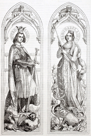 Ferdinand III of Castile and Adelayde of Hungary glass painting created in Sevres manufacturing after drawings of Deveria. Published on Magasin Pittoresque, Paris, 1844