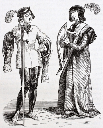 Troubadour and page old illustration. Taken from the manuscript Miracles of Saint Louis, published on Magasin Pittoresque, Paris, 1844