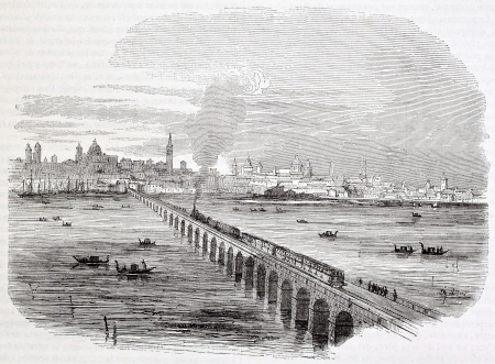 Venice railway: viaduct across lagoon. Created by Campin, Published on Magasin Pittoresque, Paris, 1844