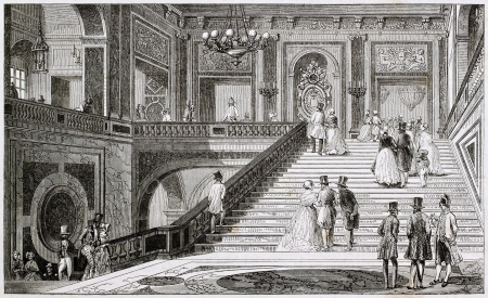 aristocracy: Marble staircase in Versailles castle. Created by Armstrong, published on Magasin Pittoresque, Paris, 1844