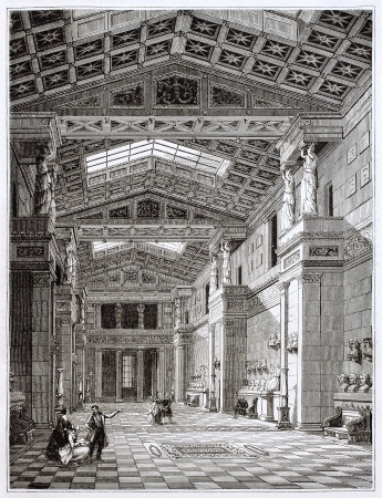 regensburg: Walhalla temple interior, old illustration. Created by Pisan, published on Magasin Pittoresque, Paris, 1844
