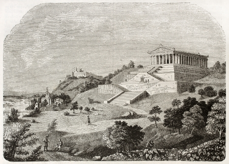 neoclassical: Walhalla temple, old illustration. By unidentified author published on Magasin Pittoresque, Paris, 1844