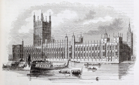 ancestry: Westminster palace old view, London, By unidentified author, published on Magasin Pittoresque, Paris, 1844