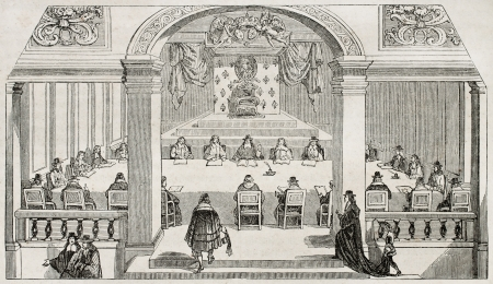 17th: Academie Francaise (French Academy) session hall in Louvre palace (official seat until 1805). After 17th century old print, published on Magasin Pittoresque, Paris, 1845