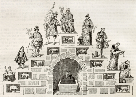 allegory: Age double stair symbolic illustration. After antique print of 16th century, published on Magasin Pittoresque, Paris, 1845