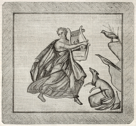 lyre: Mosaic found in Aix-en-Provence old illustration. After mosaic kept in Aix museum, published on Magasin Pittoresque, Paris, 1845