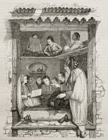 School il Algiers old illustration. Created by Wyld, published on Magasin Pittoresque, Paris, 1845
