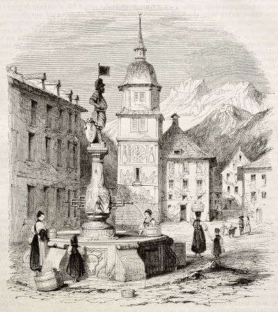 artwork painting: Altdorf main square old view, canton of Uri, Switzerland. Created by Girardet, published on Magasin Pittoresque, Paris, 1845