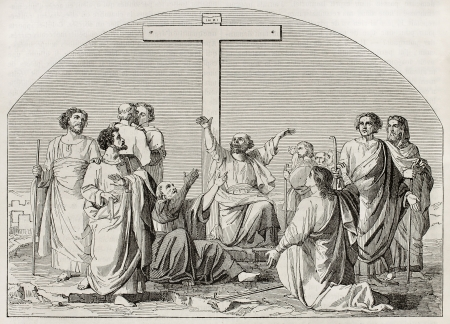 preach: The Departure of the Apostles (to preach the Gospel). Created by Gleyre, published on Magasin Pittoresque, Paris, 1845