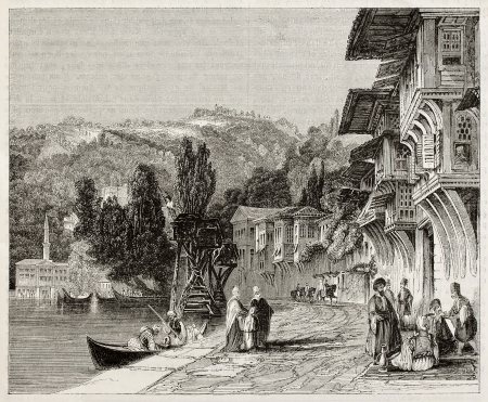 syria: Baalbek old view, Lebanon. Created by Best and Leloir, published on Magasin Pittoresque, Paris, 1845