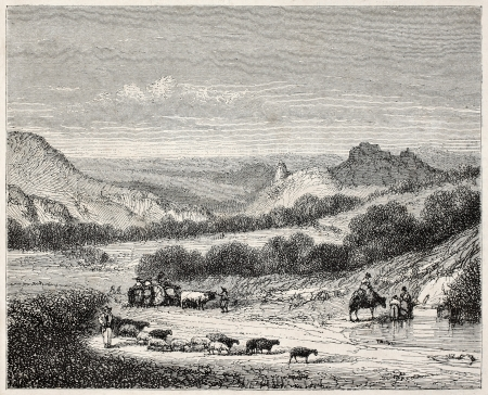 Farmers coming back from market, old illustration. Puy-en-Velay surroundings, France. Created by Thuillier, published on Magasin Pittoresque, Paris, 1845