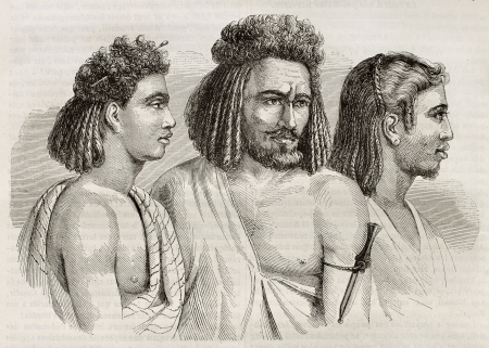 Bichari and Ababda people (tribes living between the Nile river and the Red sea). Created by Prisse, published on Magasin Pittoresque, Paris, 1845