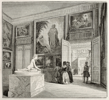 Bordeaux museum, the second hall, old illustration. Created by Drouin and Montigneul, published on Magasin Pittoresque, Paris, 1845 Stock Photo - 15270569