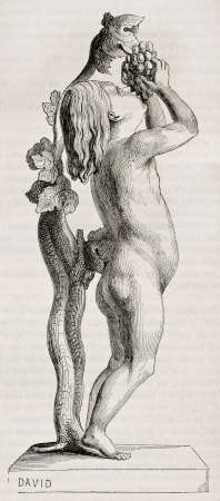 nackter junge: Boy und Trauben Marmorstatue, alte Abbildung. Modelliert von d'Angers, am Magasin Pittoresque veröffentlicht, Paris, 1845