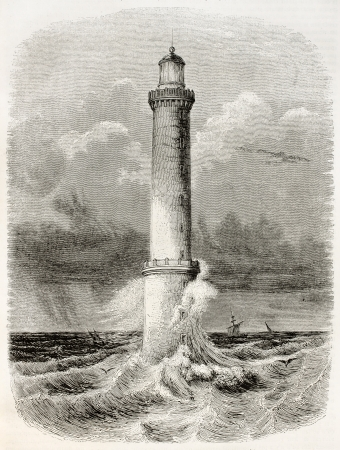 Heaux de Brehat lighthouse old illustration, France. By unidentified author, published on Magasin Pittoresque, Paris, 1845 Editorial