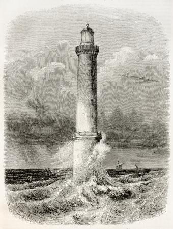 Heaux de Brehat lighthouse old illustration, France. By unidentified author, published on Magasin Pittoresque, Paris, 1845 Éditoriale