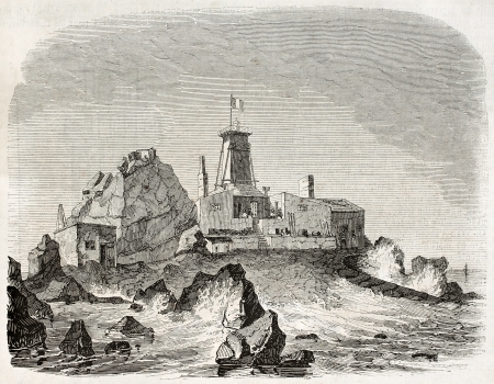 provisional: Heaux de Brehat, provisional lighthouse and construction site old illustration, France. Created by Marville, published on Magasin Pittoresque, Paris, 1845 Editorial