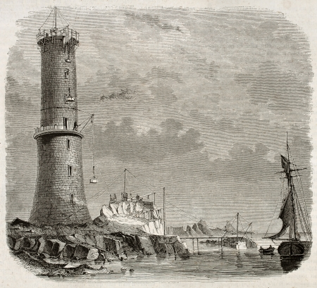 erecting: Building Heaux de Brehat lighthouse old illustration, France. By unidentified author, published on Magasin Pittoresque, Paris, 1845
