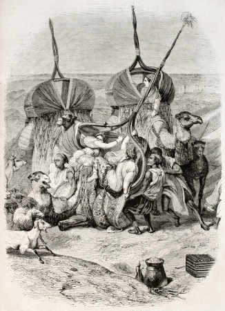 palanquin: Women getting up camel palanquin, old illustration. Created by Vernet, published on Magasin Pittoresque, Paris, 1845 Editorial