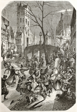 17th: Carnival feast along the streets of an European northern town. After 17th century print by unknown author, published on Magasin Pittoresque, Paris, 1845 Editorial