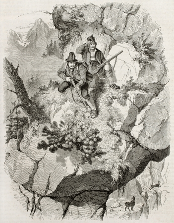 hunters: Chamois hunters old illustration. Created by Freeman, published on Magasin Pittoresque, Paris, 1845 Editorial