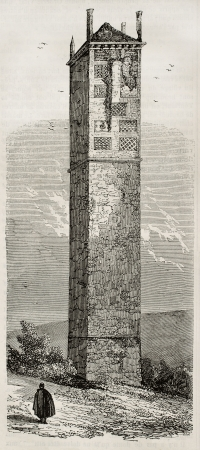 touraine: La Pile in Cinq-Mars surroundings, Touraine, France. Created by Champin, published on Magasin Pittoresque, Paris, 1845