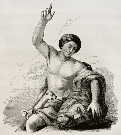 david and goliath: David with the head of Goliath. After painting by Carrache kept in Marseilles museum, published on Magasin Pittoresque, Paris, 1845