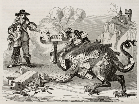 Demon of gambling old illustration. By unidentified author, published on Magasin Pittoresque, Paris, 1845