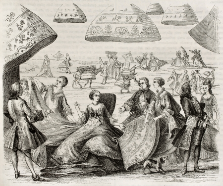 underskirt: Margot, renowned farthingales merchant in Paris (early 17th century). After old print kept in French Royal Library, published on Magasin Pittoresque, Paris, 1845 Editorial