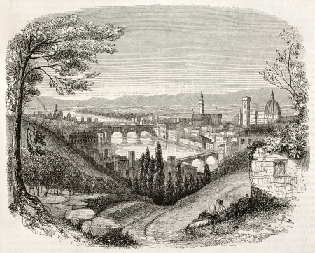 Florence old view from San Miniato, Italy. Created by Brugnot, published on Magasin Pittoresque, Paris, 1845