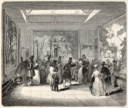 antique factory: Gobelins Manufactory old illustration, exhibition hall, Paris. Created by Best, Leloir, Hotelin and Regnier, published on Magasin Pittoresque, Paris, 1845