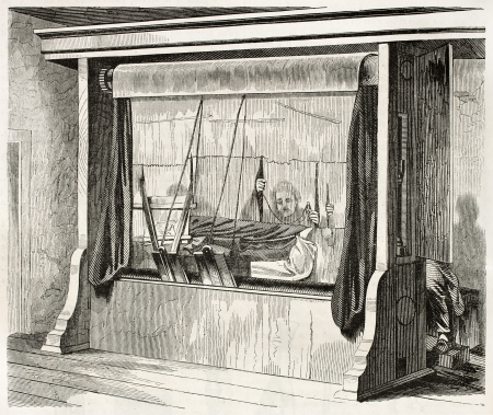 loom: Loom in Gobelins Manufactory old illustration, Paris. By unidentified, published on Magasin Pittoresque, Paris, 1845