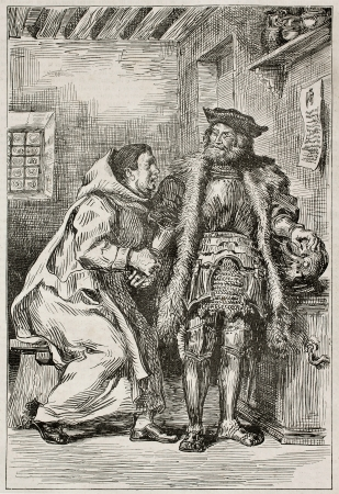 Goetz von Berlichingen and Brother Martin. Goethe's drama, first act. Created by Delacroix, published on Magasin Pittoresque, Paris, 1845 Stock Photo - 15270484