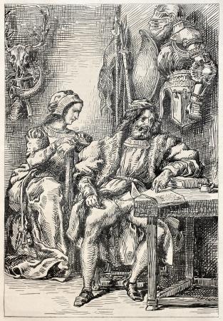 teatro antiguo: Goetz von Berlichingen escribir sus memorias. El drama de Goethe, cuarto acto. Creado por Delacroix, publicado el Magasin Pittoresque, París, 1845 Editorial