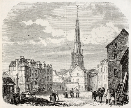 Harfleur old view, France. Created by Marville, published on Magasin Pittoresque, Paris, 1845 Stock Photo - 15270232