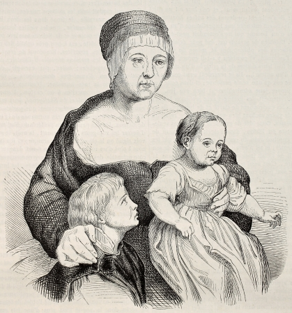 hans: Family of Hans Holbein the Younger. After painting of the same artist kept in Basel Kunstmuseum, published on Magasin Pittoresque, Paris, 1845