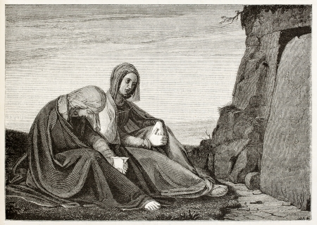 sepulcher: Holy women in front of Jesus sepulcher. Created by Vent, published on Magasin Pittoresque, Paris, 1845