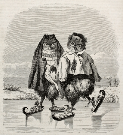 Ice skaters owls fanciful old illustration. After old Dutch print, published on Magasin Pittoresque, Paris, 1845