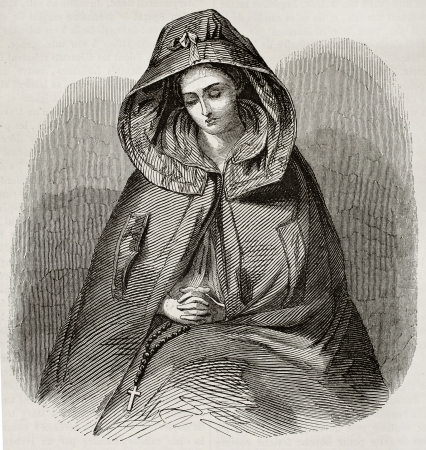 engraved: Hooded Irish girl old engraved portrait. By unidentified author, published on Magasin Pittoresque, Paris, 1845 Editorial