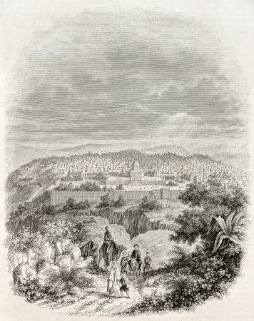 palestine: Jeruslam old view. Created by Frere, published on Magasin Pittoresque, Paris, 1845