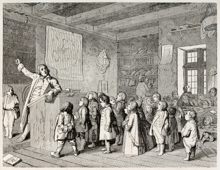 Old illustration depicting a Jobsiade scene (Job school teacher). Satirical poem by Carl Arnold Kortum. By unidentified author, published on Magasin Pittoresque, Paris, 1845